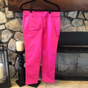 Ann Taylor Cropped Pant - Bright Pink
